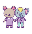 bashower cute little bear and elephant cartoon vector image