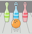 bowling strike shot cartoon skittles with ball vector image
