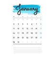 calendar 2017 template with blue watercolor stain vector image