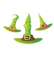 cartoon glossy green witch hat isolated vector image vector image