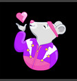 cartoon mouse athlete sends a kiss vector image vector image
