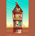 cartoon multistorey house in cross section vector image