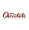 chocolate calligraphy hand lettering isolated on vector image vector image