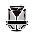 cocktail glass emblem icon image vector image