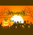 cover halloween pumpkin and candlesm the card is vector image vector image