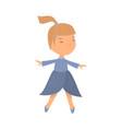 cute school girl is dancing in spring blue dress vector image vector image
