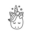 Cute unicorn cartoon character