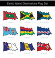 exotic island destinations waving flag set vector image vector image