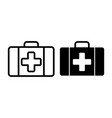 first aid kit line and glyph icon medical case vector image