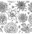 floral seamless pattern with skecth of flowers vector image