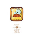 funky cartoon cute white sliced toast bread vector image
