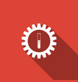 gear and test tube icon isolated with long shadow vector image