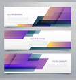 geometric banners set in elegant purple color vector image vector image