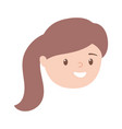 girl face character with pony tail hair cartoon vector image vector image