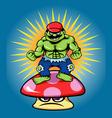 Green giant and angry mushroom cartoon character vector image