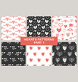 hand drawn hearts seamless patterns set vector image vector image