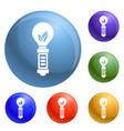 hand eco bulb icons set vector image