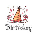 happy birthday party hat horn white background vec vector image