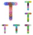 Happy colorful fractal font set - letter T vector image vector image