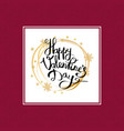 happy valentines day inscription in golden frame vector image vector image