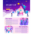 isometric bright startup young entrepreneurs vector image vector image