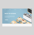isometric chemistry classroom landing page vector image vector image
