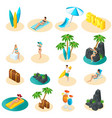 isometrics set icons for beach girls in bikini vector image