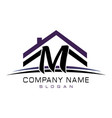 letter m house logo vector image vector image