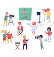 members of film crew producer on chair cameraman vector image