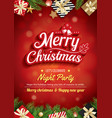 merry christmas greeting card and party on red vector image vector image
