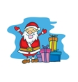 Merry Christmas Santa Claus with gift cartoon vector image