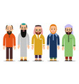 muslim man set muslim or arab man stand in the vector image