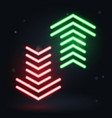 neon up and down arrows on dark background vector image