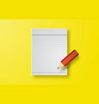 note book paper with pencil on yellow vector image