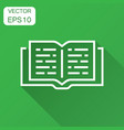 open book icon in flat style text book with long vector image vector image