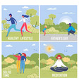 outdoor pastime social media banners set vector image