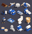 paper production isometric icon set vector image vector image