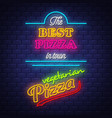 pizza sign collection - neon sign on brick wall vector image vector image