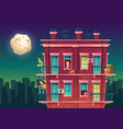 residential multi-storey apartment at night vector image vector image