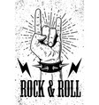 rock and roll poster template hand with rock and vector image