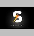 s letter logo design with lighting thunder bolt vector image
