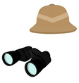 Safari hat and binoculars vector image vector image