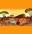 scene with wild animals in field vector image vector image