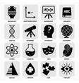 Science areas icons black vector image vector image