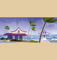 sea storm and rain on beach with bungalows vector image vector image
