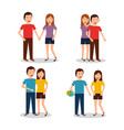 set of of couples characters in different vector image