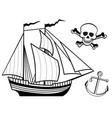 ship anchor and human skull vector image vector image