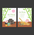 spa and massage spa therapy card templates set vector image vector image