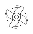 spinning engine fan outline icon on white vector image