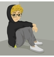 teenager nerd boy desperate sitting on floor vector image